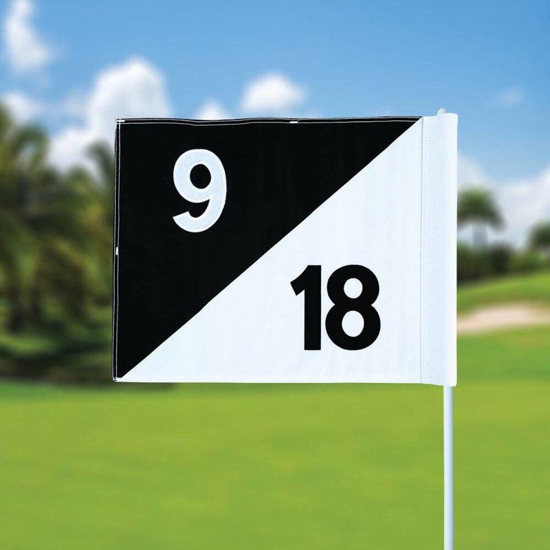 GolfFlags Golfvlag, semaphore, genummerd, wit - zwart