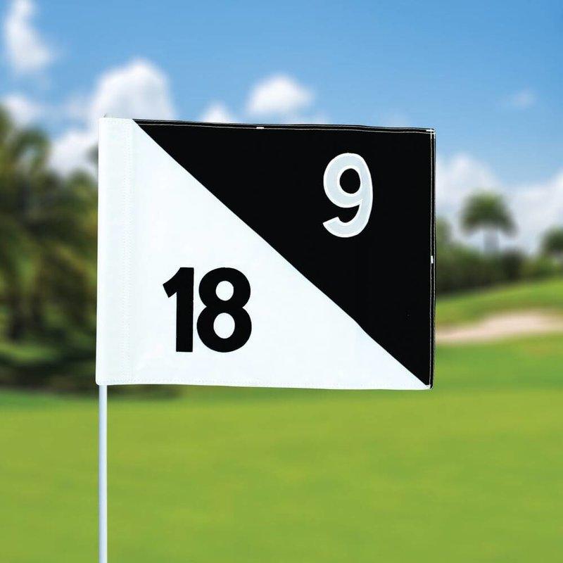 Golf flag, semaphore, numbered, white - black