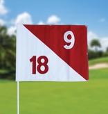 Golffahnen, semaphore, nummeriert, weiß - rot