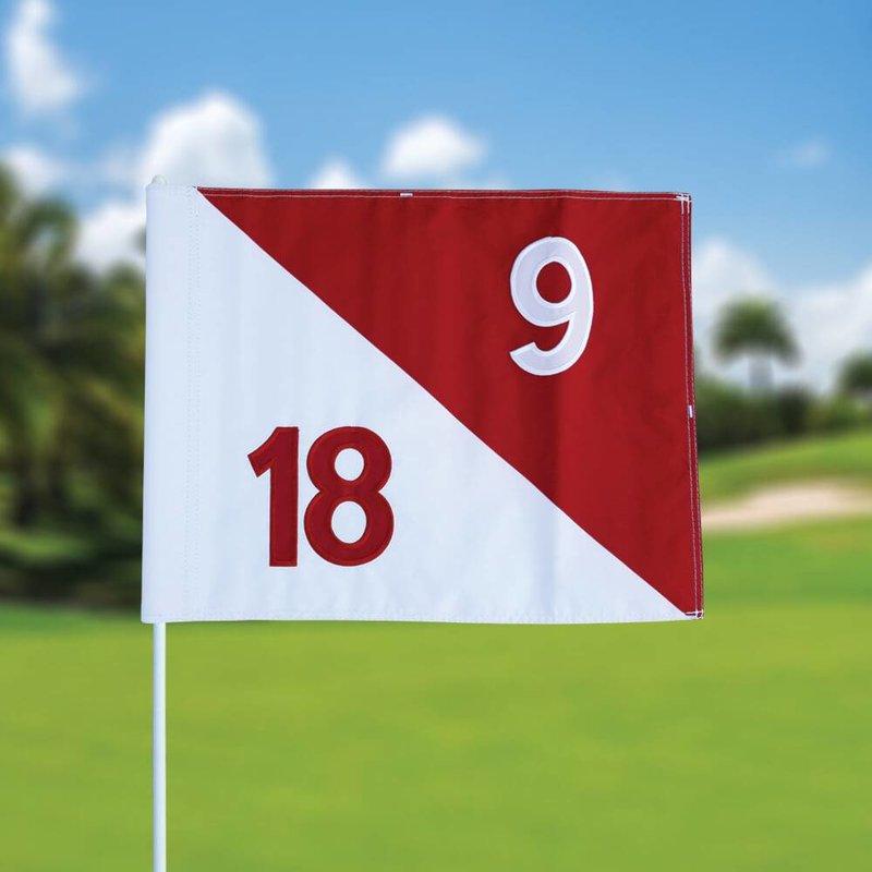 Golf flag, semaphore, numbered, white - red