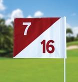 Golfvlag, semaphore, genummerd, wit - rood