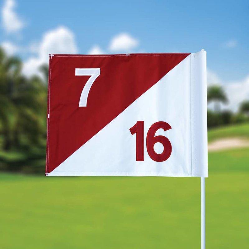 GolfFlags Golfvlag, semaphore, genummerd, wit - rood