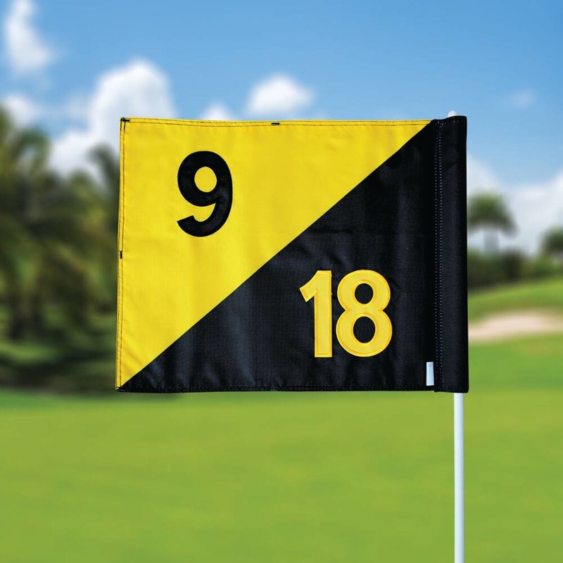 GolfFlags Golfvlag, semaphore, genummerd, zwart - geel