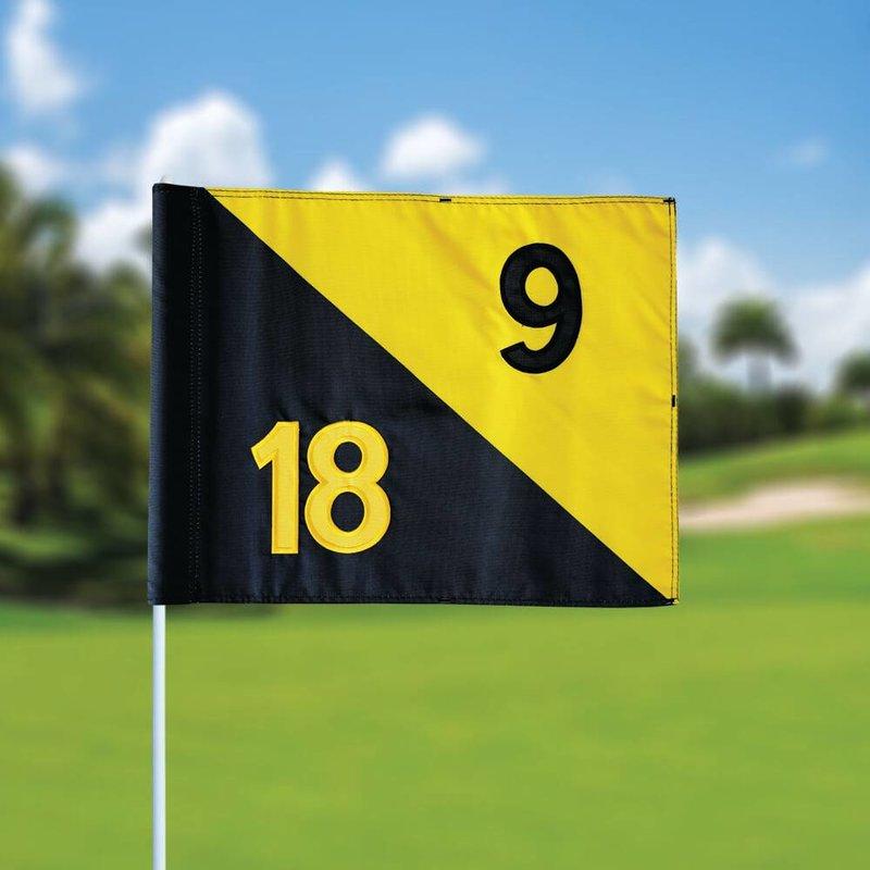 Golf flag, semaphore, numbered, black - yellow