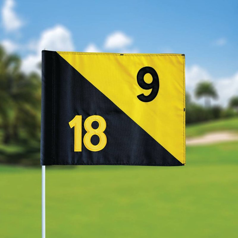 GolfFlags Golffahnen, semaphore, nummeriert, schwarz - gelb