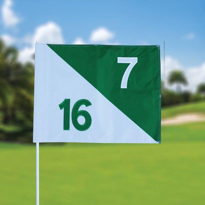 Golf flag, semaphore, numbered, white - green