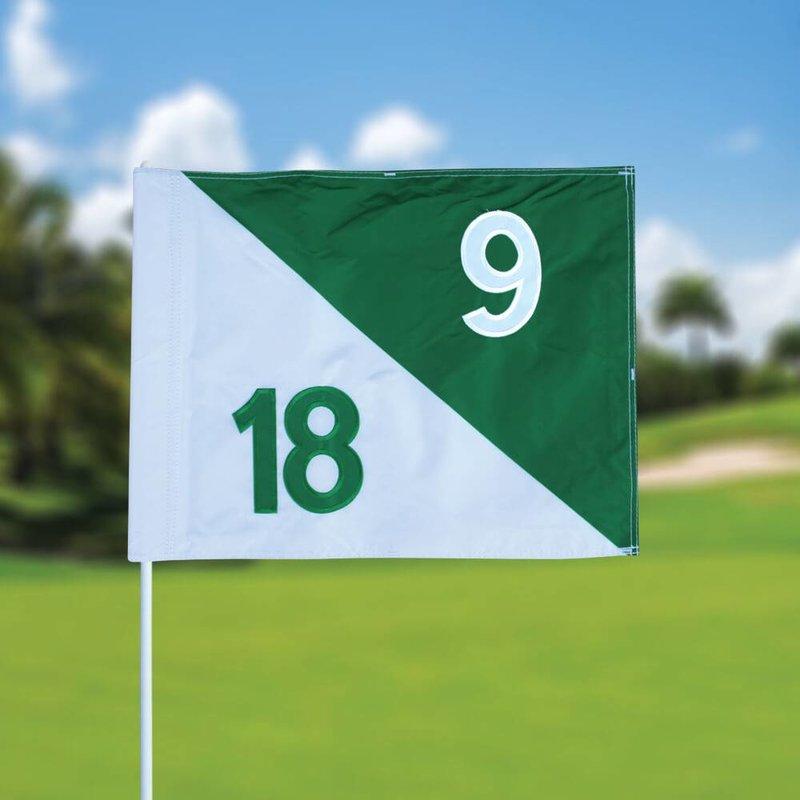 Golfvlag, semaphore, genummerd, wit - groen