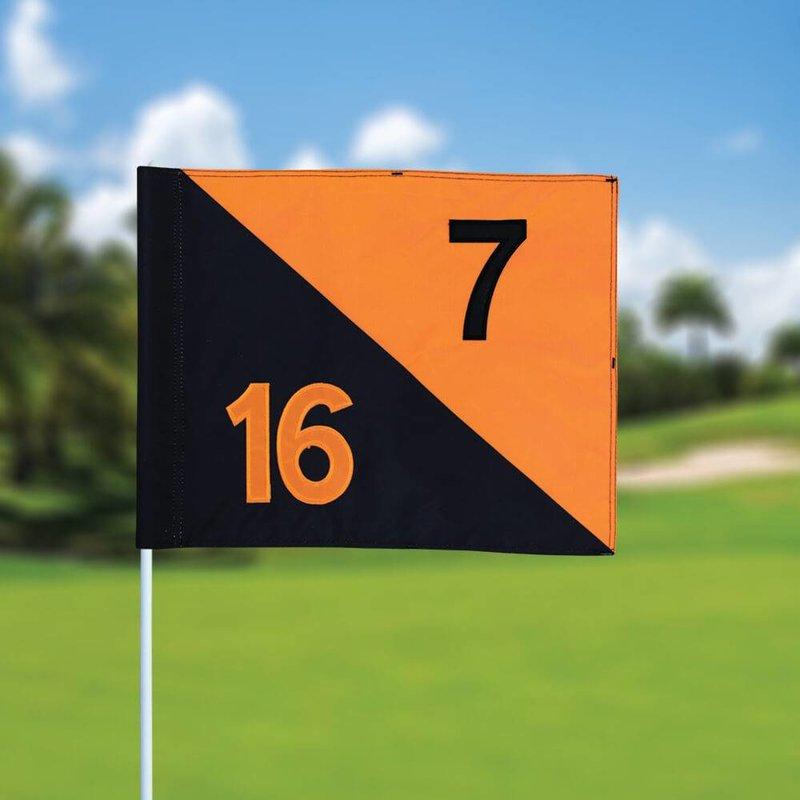GolfFlags Golfvlag, semaphore, genummerd, zwart - oranje