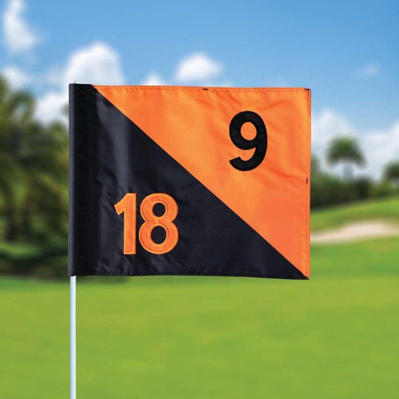 Golffahnen, semaphore, nummeriert, schwarz - orange