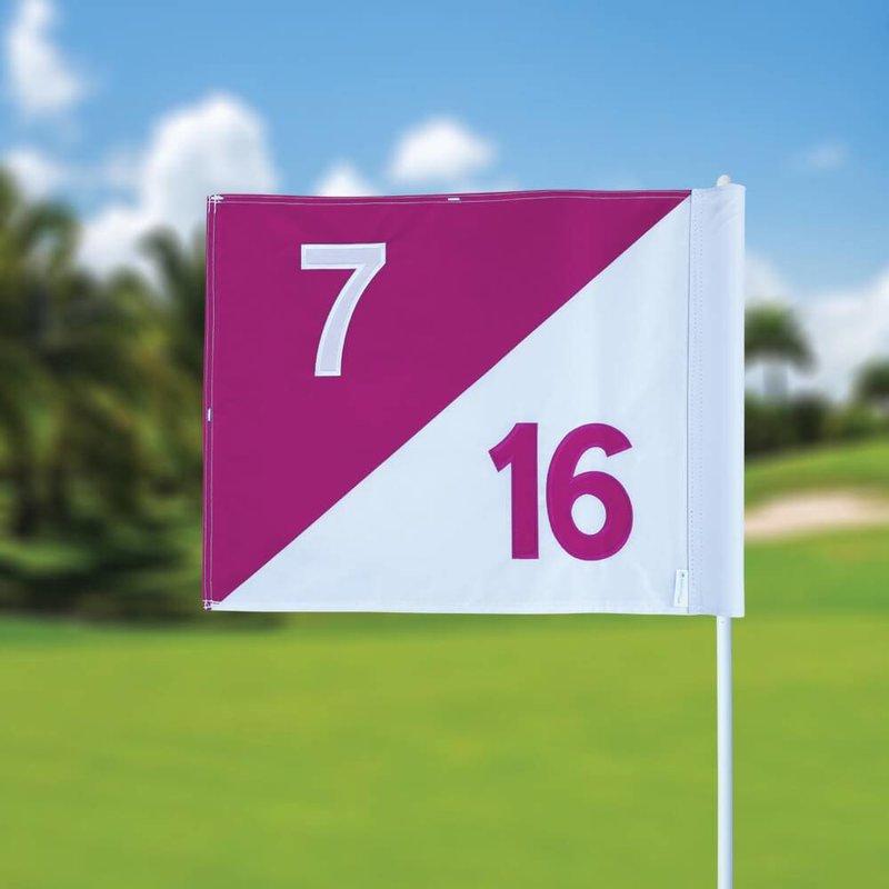 Golfvlag, semaphore, genummerd, wit - roze