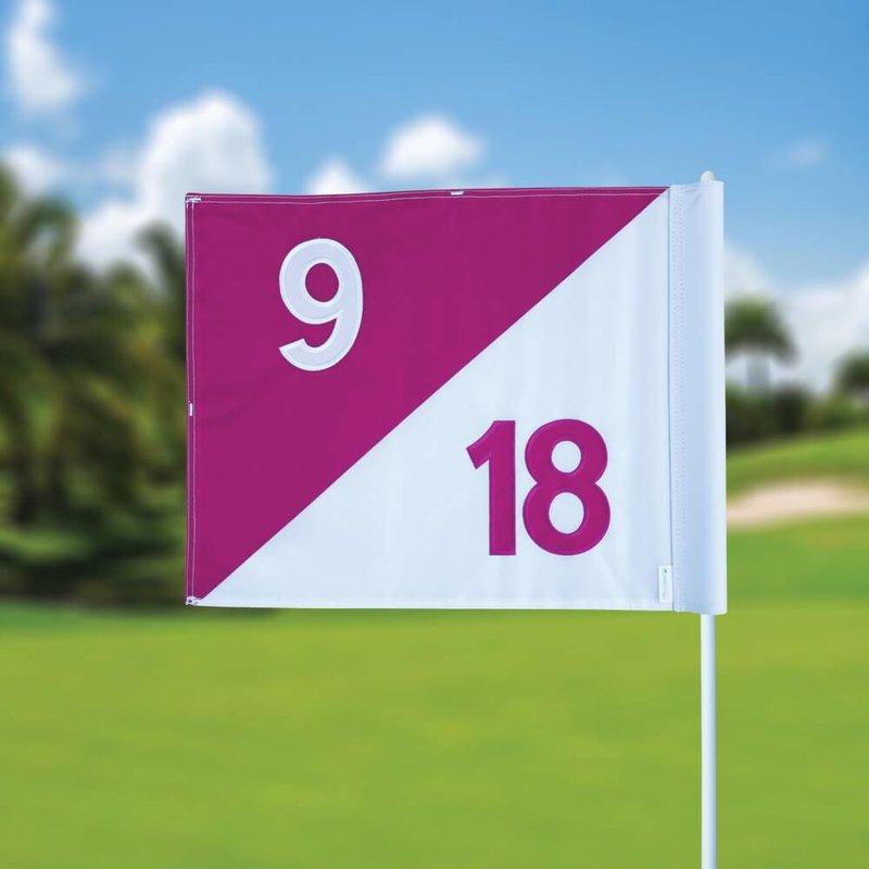 GolfFlags Golfvlag, semaphore, genummerd, wit - roze
