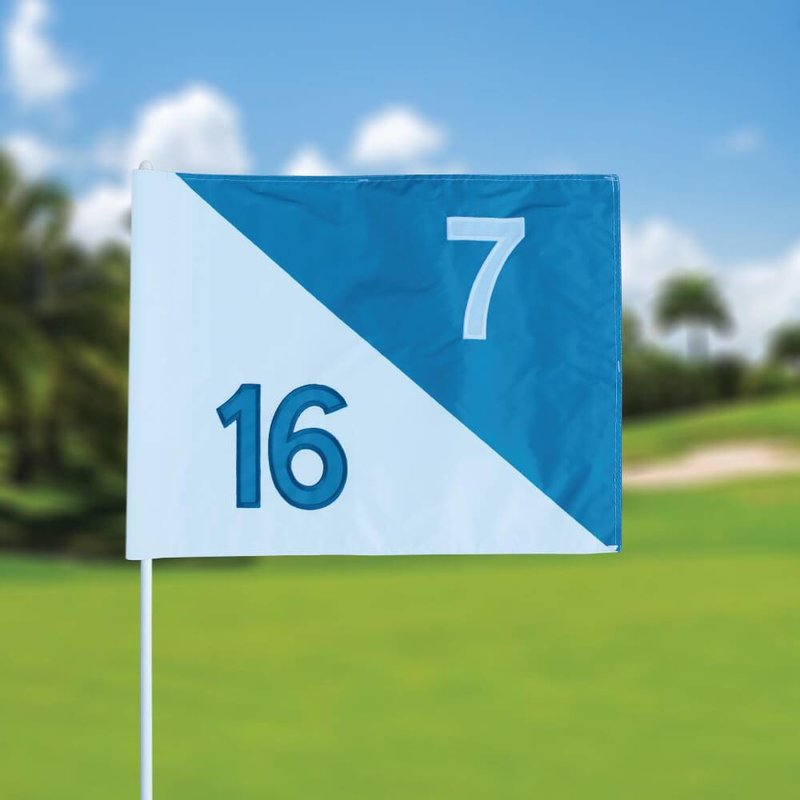 Golffahnen, semaphore, nummeriert, weiß - hellblau