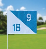 Golfvlag, semaphore, genummerd, wit - lichtblauw