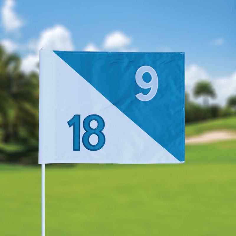 Golf flag, semaphore, numbered, white - light blue