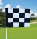 Golfvlag, checkered, wit - zwart