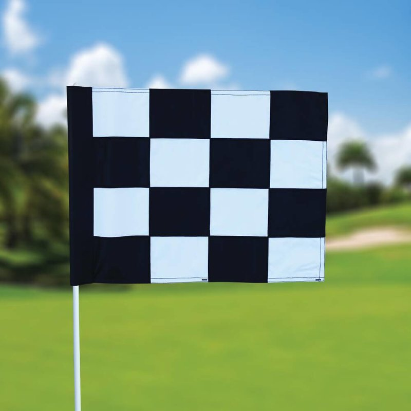 Golf flag, checkered, white - black