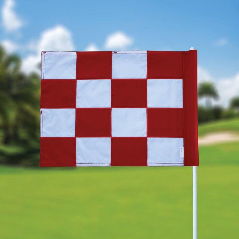 GolfFlags Golffahne, karriert, weiß - rot