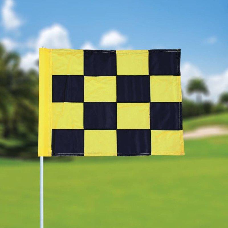 Golffahne, karriert, schwarz - gelb