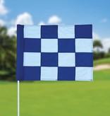 GolfFlags Golffahne, karriert, weiß - blau