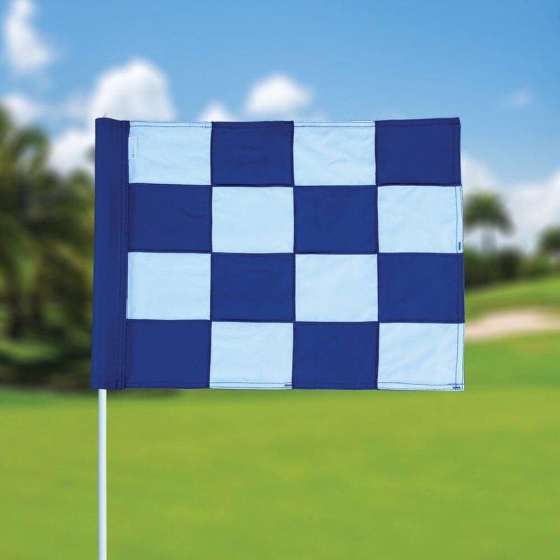 Golffahne, karriert, weiß - blau