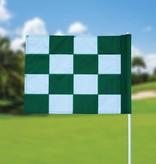Golffahne, karriert, weiß - grün