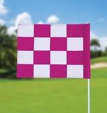 Golffahne, karriert, weiß - pink