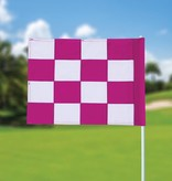 GolfFlags Golf flag, checkered, white - pink