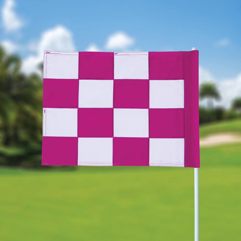 Golfvlag, checkered, wit - roze