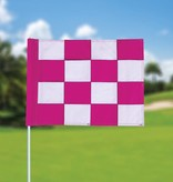 GolfFlags Golfvlag, checkered, wit - roze