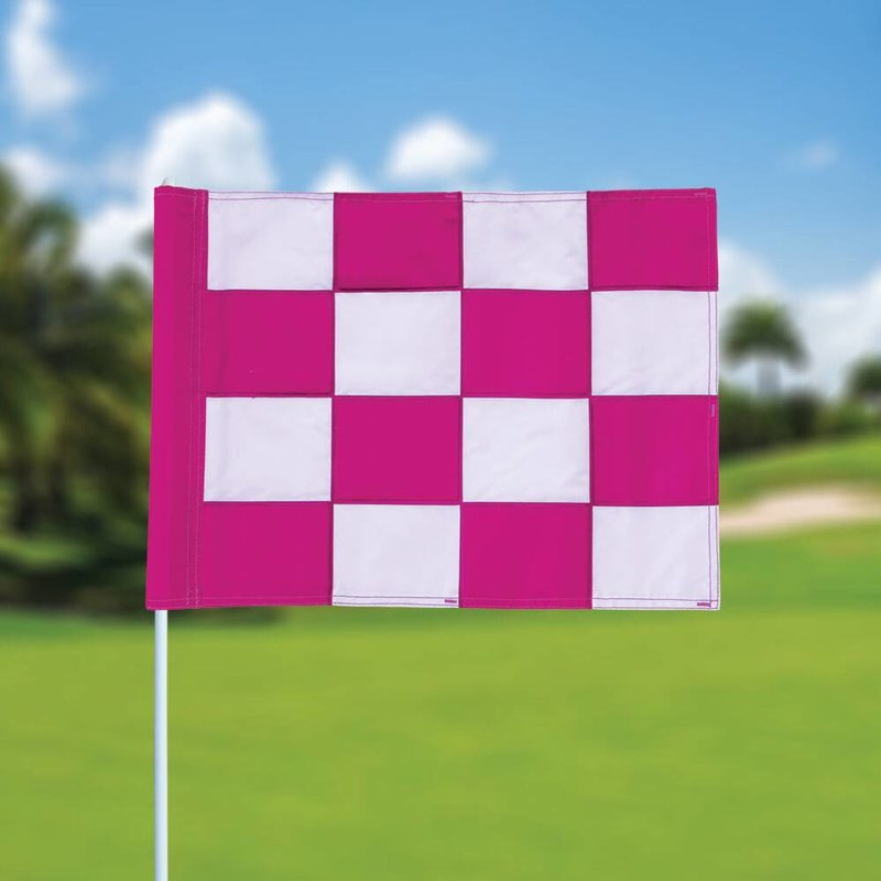 GolfFlags Golffahne, karriert, weiß - pink