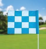 GolfFlags Golfvlag, checkered, wit - lichtblauw