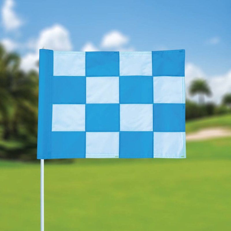 Golfvlag, checkered, wit - lichtblauw