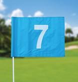 Golffahnen, nummeriert, hellblau