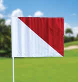 Golffahnen, semaphore, weiss - rot