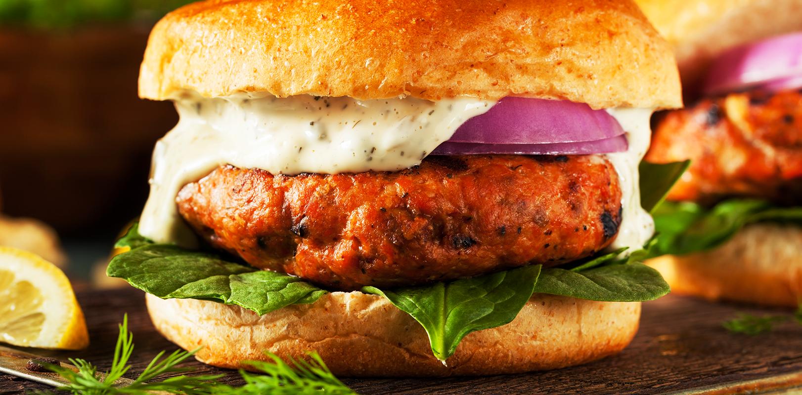 Een op en top Salmon Burger