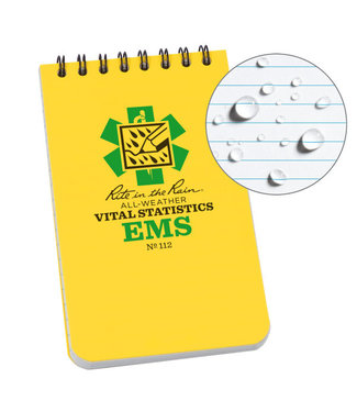 "Rite in the Rain EMS Notebook, 3"" x 5"", Yellow Cover, Vital Stats Pages (No. 112)"