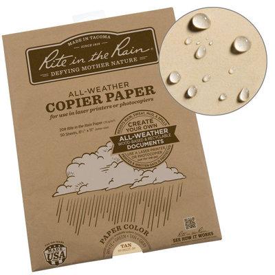 Rite in the Rain Weatherproof Laser Printer Paper, Letter Formaat Tan, 50 Sheet Pack (No. 9511T-50)