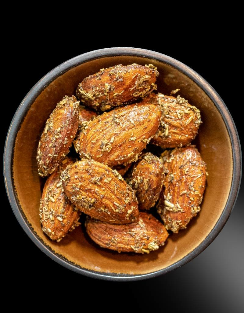 Almonds combined with Rosemary, Thyme and Maple Syrup