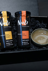 Box with 2 types of NuZz and a small bowl
