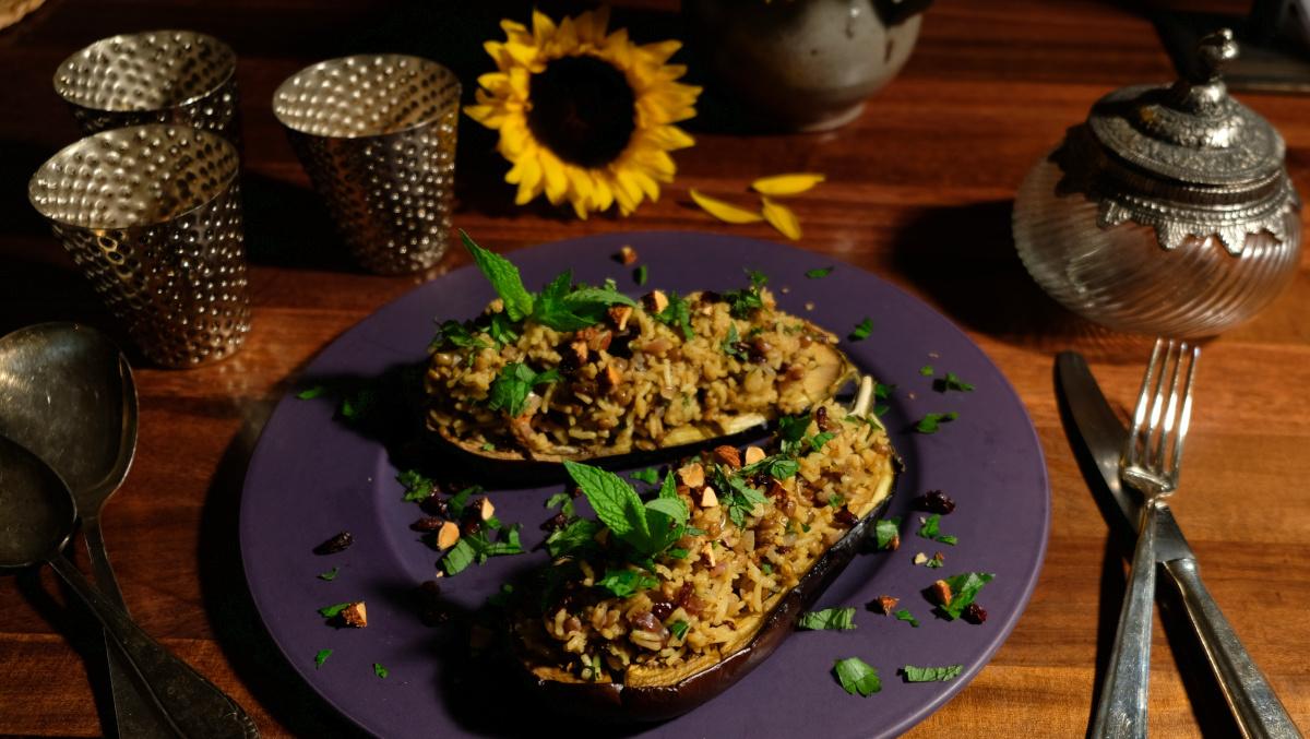GEfüllte Auberginen mit Mandeln Oriental