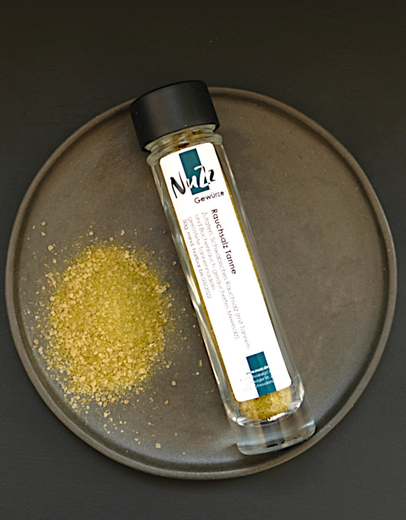 NuZz Smoked sea salt enriched with slightly roasted fir needles