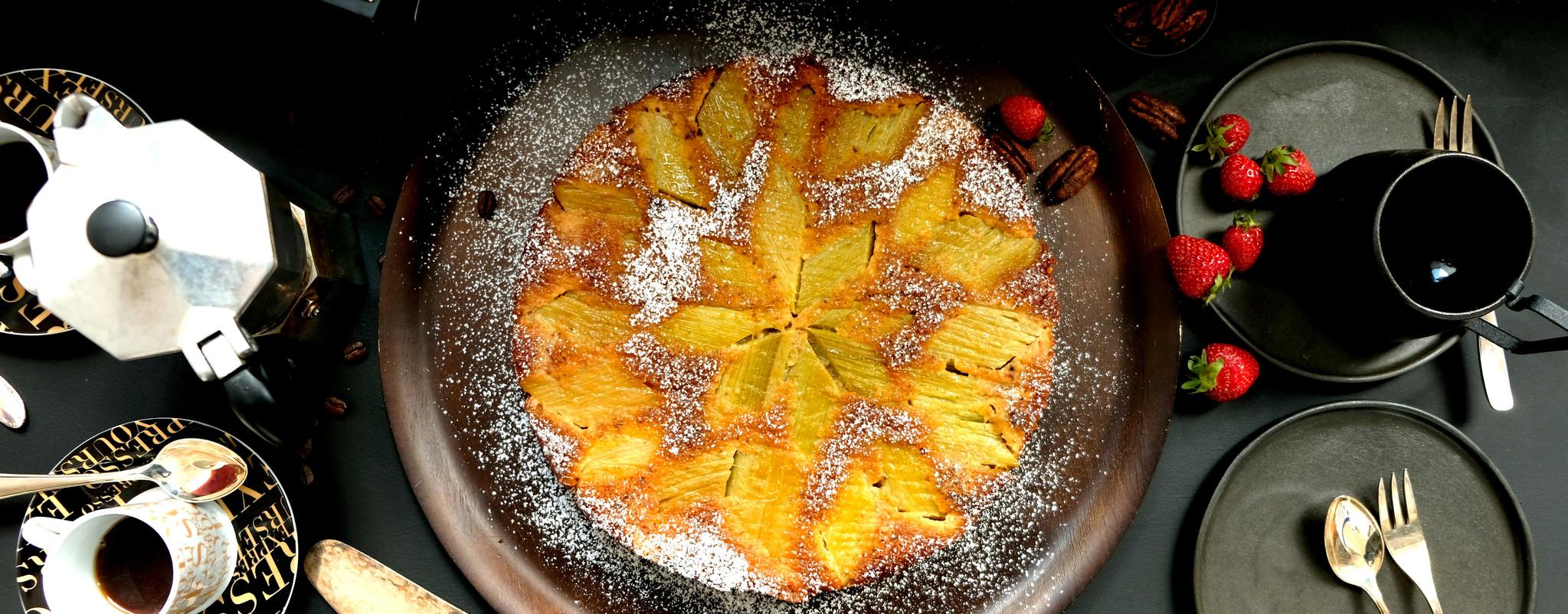 Rhabarber-Pekan-Kuchen überkopf