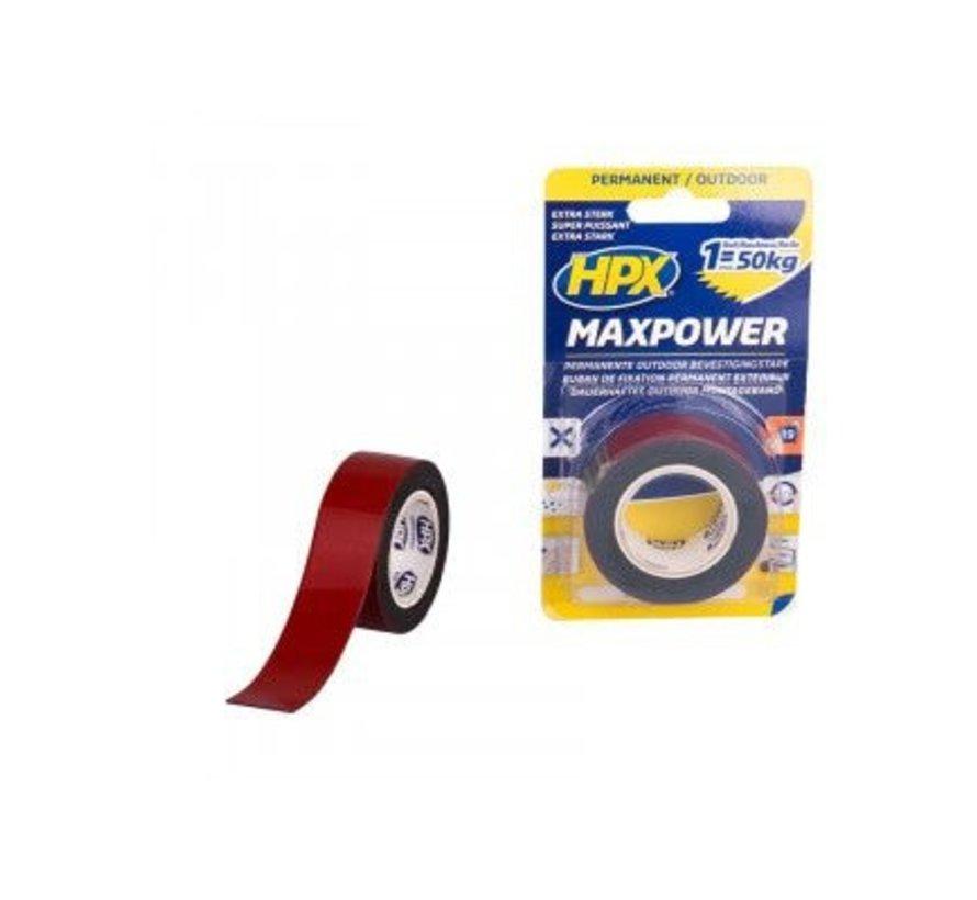 Max Power Outdoor Bevestigingstape Zwart 25mm x 1,5mtr