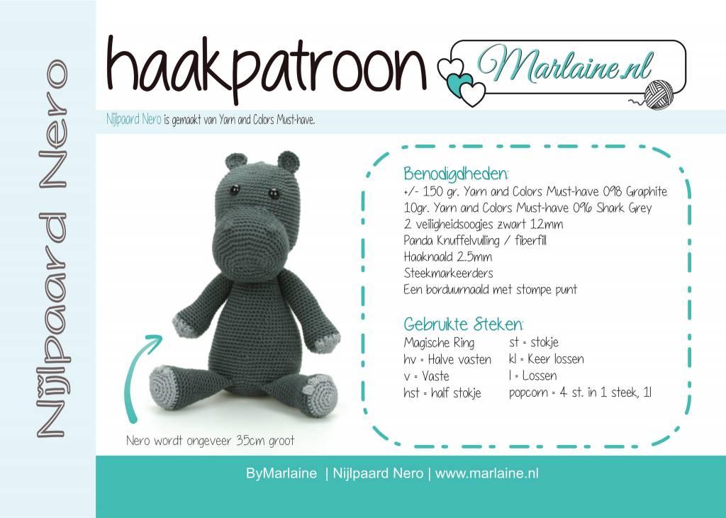 Marlaine Patroonboekje Nijlpaard Nero Marlaine Creatieve Webshop