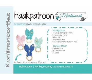 Marlaine Haakpatroon Konijnenoortjes Bijtring A6 Boekje