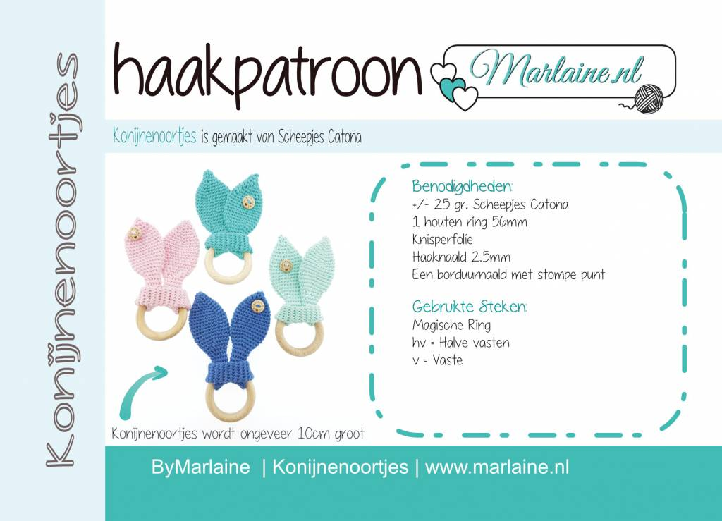 Marlaine Patroonboekje Konijnenoortjes Bijtring A6 Marlaine