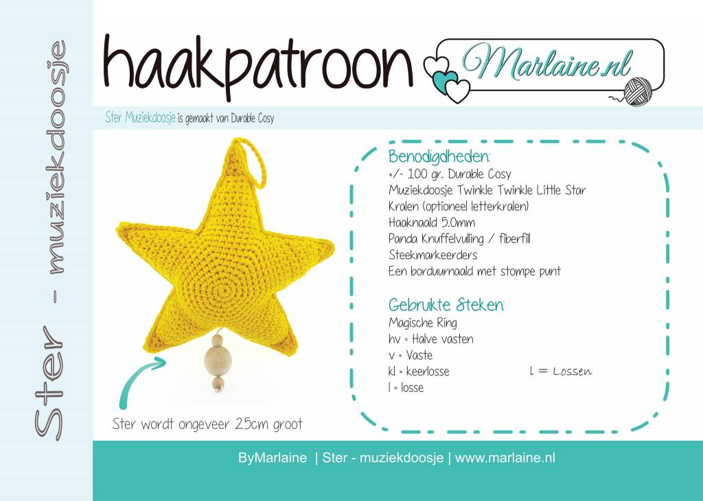 Marlaine Patroonboekje Ster Muziekdoosje Marlaine Creatieve Webshop