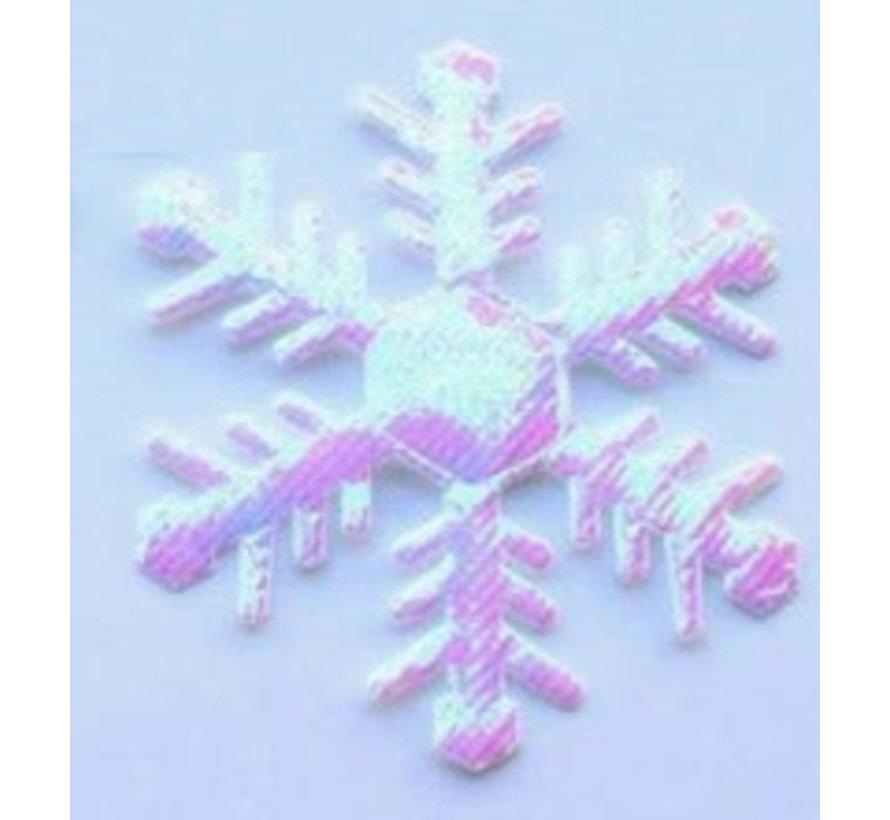 Embleem Sneeuwvlok 63mm wit 2st.