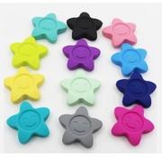Huismerk Siliconen ster met gezichtje 42mm
