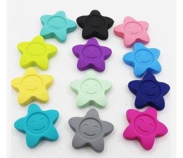Siliconen ster met gezichtje 42mm